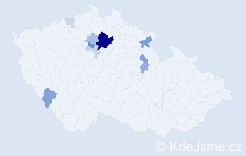 Příjmení: 'Dohalská', počet výskytů 25 v celé ČR