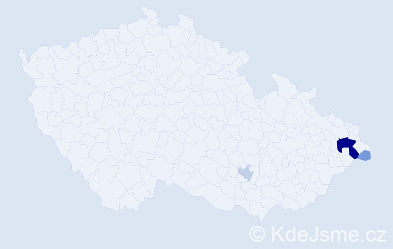 Příjmení: 'Kolčárek', počet výskytů 16 v celé ČR