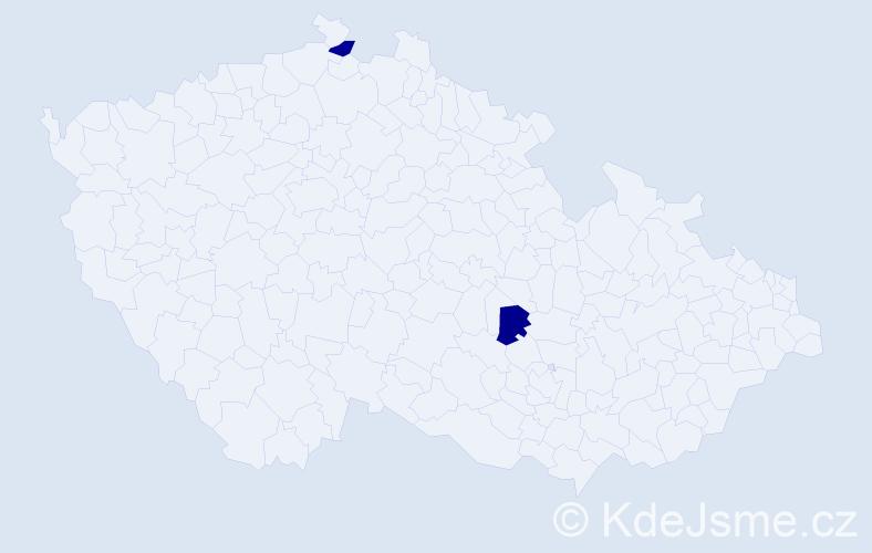 Příjmení: 'Hamed', počet výskytů 4 v celé ČR