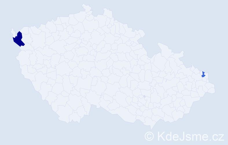 Příjmení: 'Kameniar', počet výskytů 3 v celé ČR