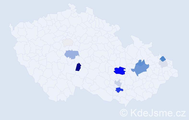 Příjmení: 'Laštuvková', počet výskytů 19 v celé ČR