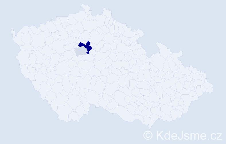 Příjmení: 'Kassahun', počet výskytů 3 v celé ČR