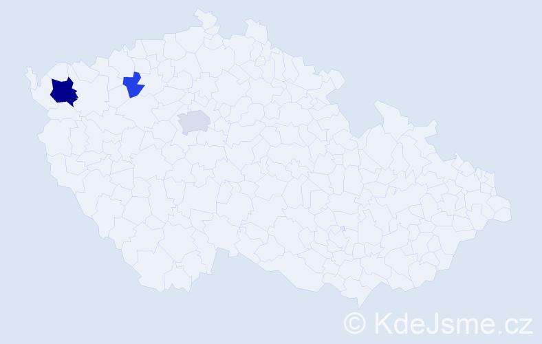 Příjmení: 'Dererová', počet výskytů 7 v celé ČR
