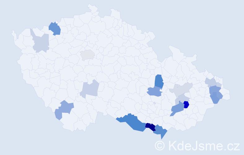 Příjmení: 'Kvinta', počet výskytů 43 v celé ČR