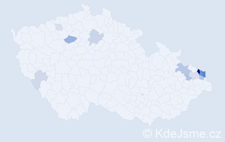 Příjmení: 'Liszok', počet výskytů 40 v celé ČR