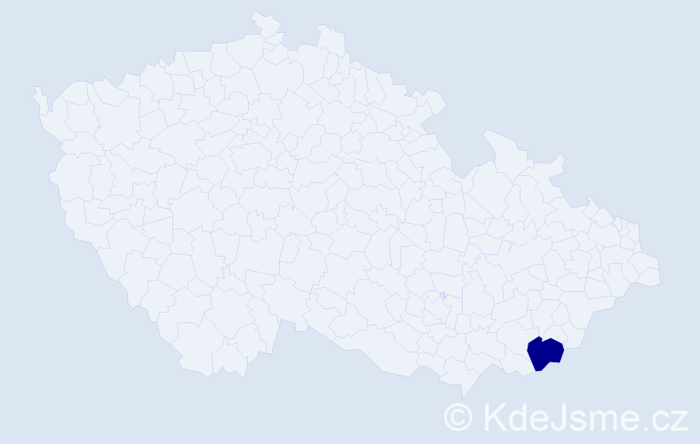 """Příjmení: '""""Čechovská Savarová""""', počet výskytů 1 v celé ČR"""