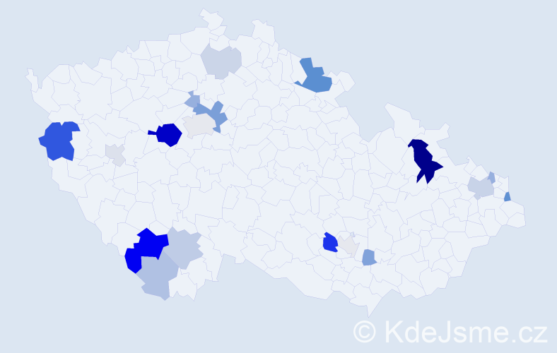 Příjmení: 'Foltín', počet výskytů 54 v celé ČR