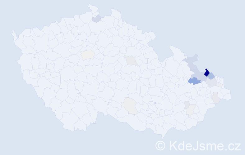 Příjmení: 'Herudek', počet výskytů 97 v celé ČR