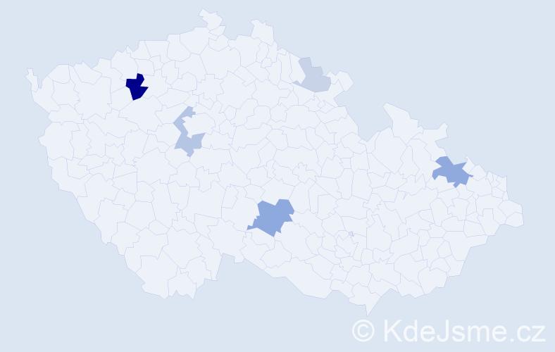 Příjmení: 'Häckel', počet výskytů 14 v celé ČR