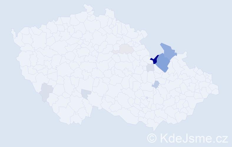 Příjmení: 'Konyariková', počet výskytů 36 v celé ČR