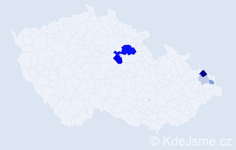 Příjmení: 'Děkánková', počet výskytů 9 v celé ČR