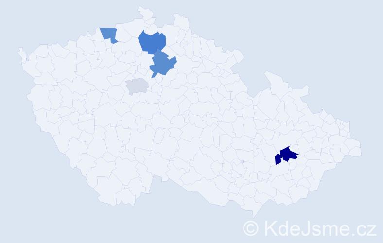 Příjmení: 'Dobos', počet výskytů 6 v celé ČR