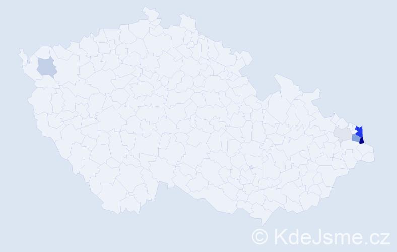 Příjmení: 'Gaś', počet výskytů 16 v celé ČR