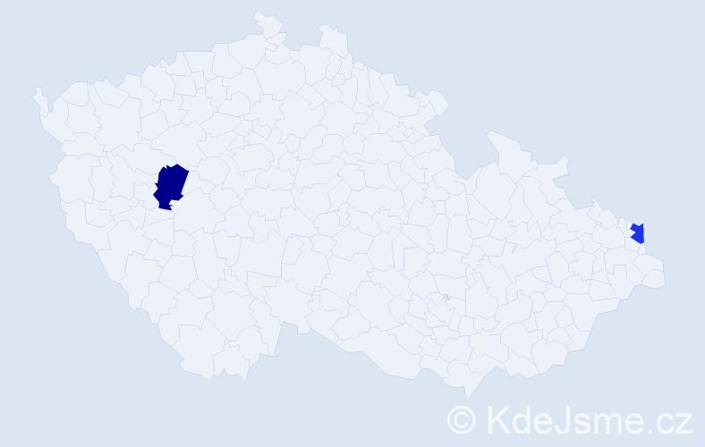 Příjmení: 'Ďačovská', počet výskytů 2 v celé ČR