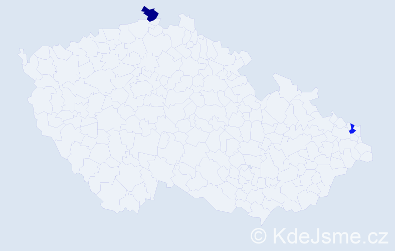 """Příjmení: '""""D'angelo""""', počet výskytů 2 v celé ČR"""