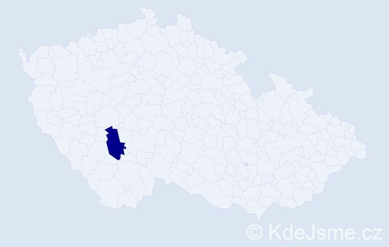 """Příjmení: '""""Bezděka Kutějová""""', počet výskytů 1 v celé ČR"""