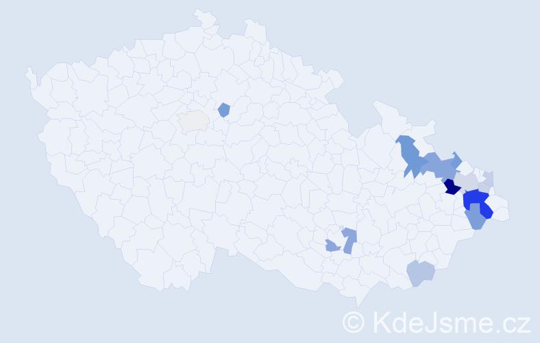 Příjmení: 'Čagalová', počet výskytů 29 v celé ČR