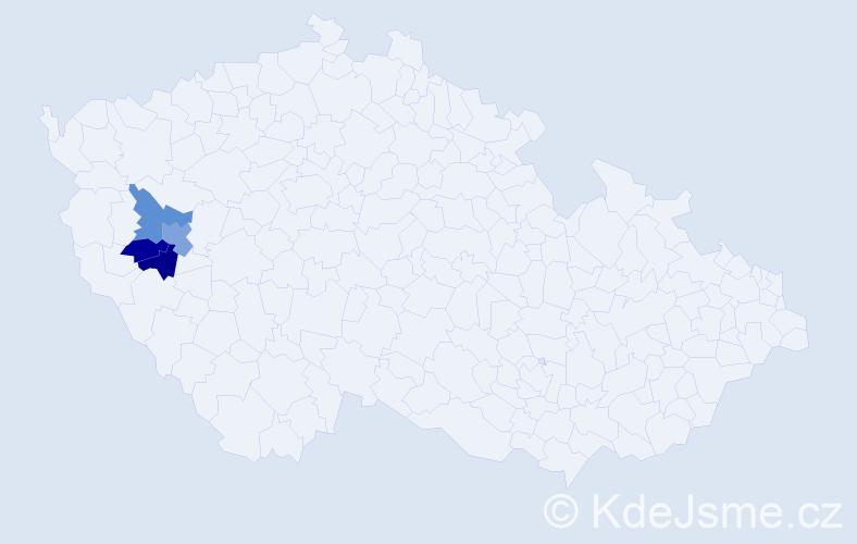 Příjmení: 'Egenvald', počet výskytů 9 v celé ČR