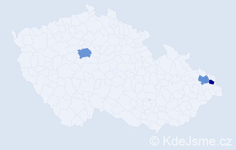 Příjmení: 'Czapka', počet výskytů 5 v celé ČR