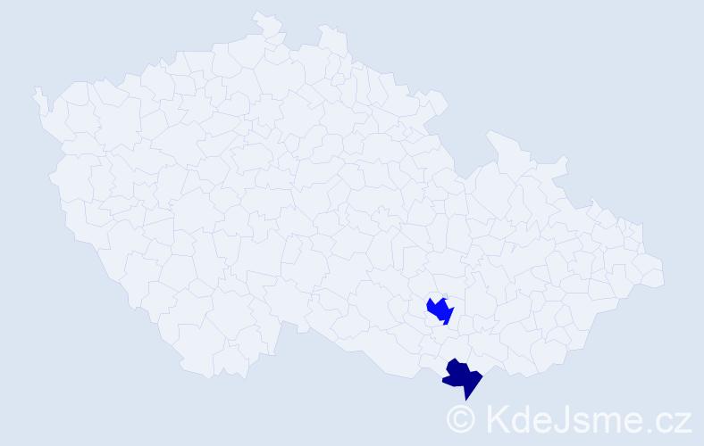Příjmení: 'Deane', počet výskytů 4 v celé ČR