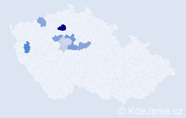 Příjmení: 'Gatyásová', počet výskytů 23 v celé ČR