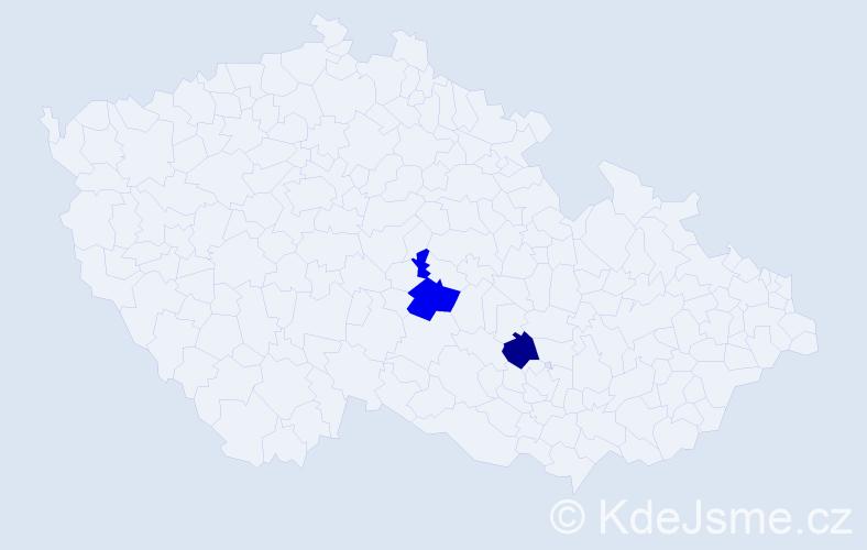 """Příjmení: '""""De Valerio""""', počet výskytů 5 v celé ČR"""