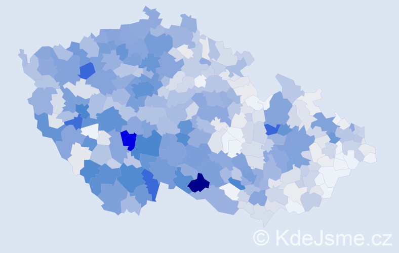 Příjmení: 'Bendová', počet výskytů 3468 v celé ČR