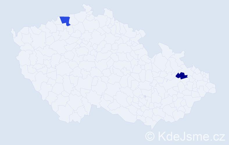 Příjmení: 'Haschkeová', počet výskytů 5 v celé ČR