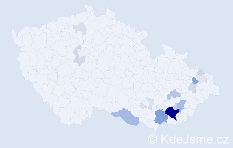 Příjmení: 'Lesa', počet výskytů 60 v celé ČR