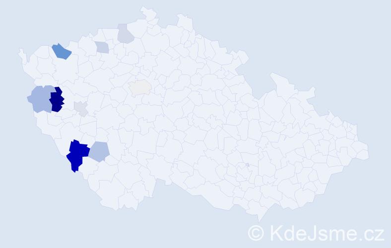 Příjmení: 'Černega', počet výskytů 15 v celé ČR