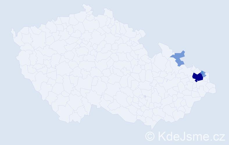 Příjmení: 'Čapčová', počet výskytů 18 v celé ČR