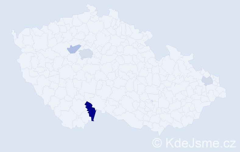 Příjmení: 'Jenis', počet výskytů 7 v celé ČR