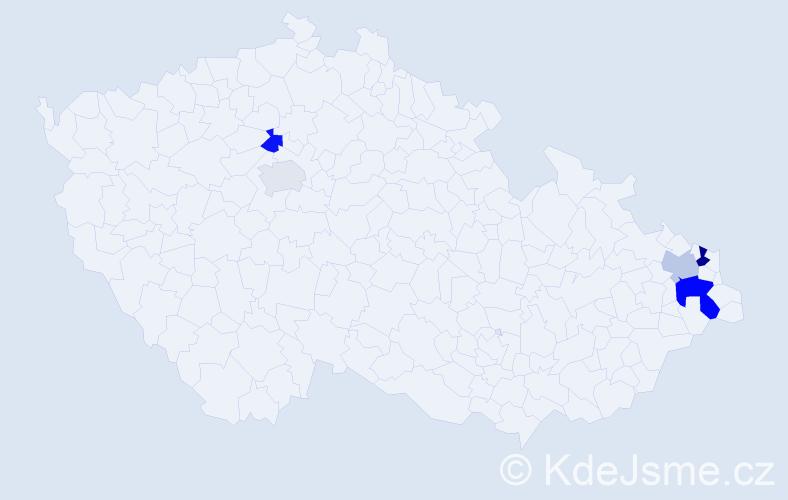 Příjmení: 'Cibien', počet výskytů 8 v celé ČR