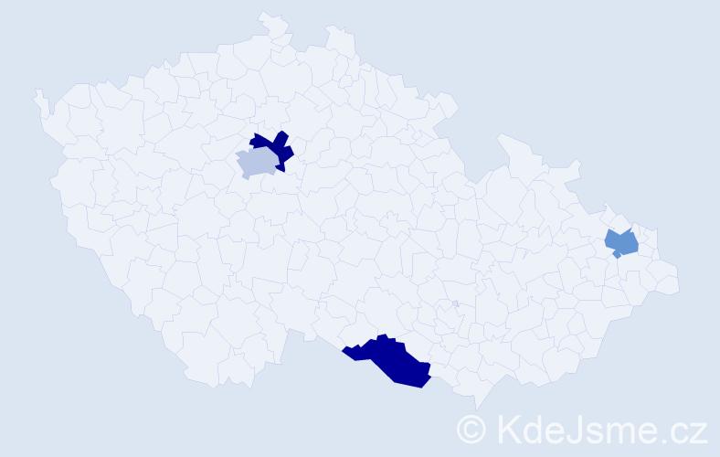 Příjmení: 'Gřivna', počet výskytů 4 v celé ČR