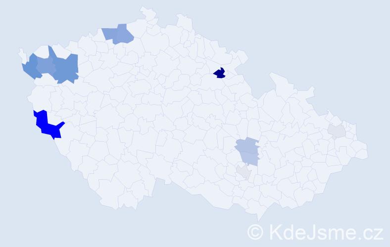 Příjmení: 'Čáni', počet výskytů 28 v celé ČR