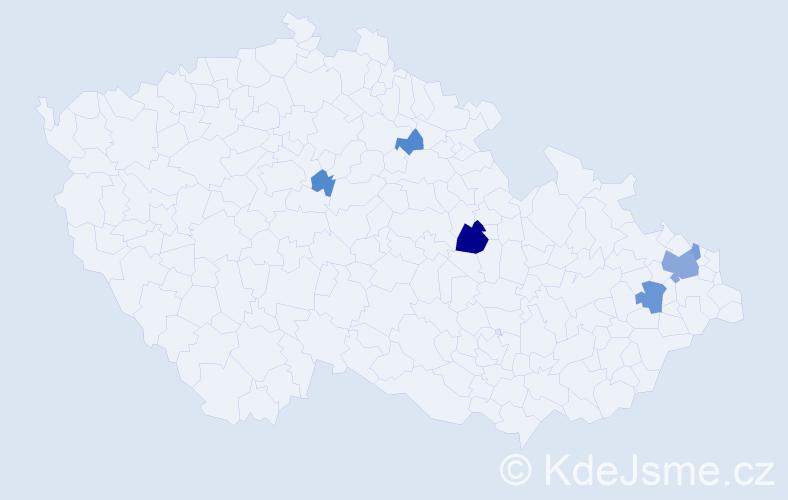 Příjmení: 'Gospodarczyková', počet výskytů 13 v celé ČR