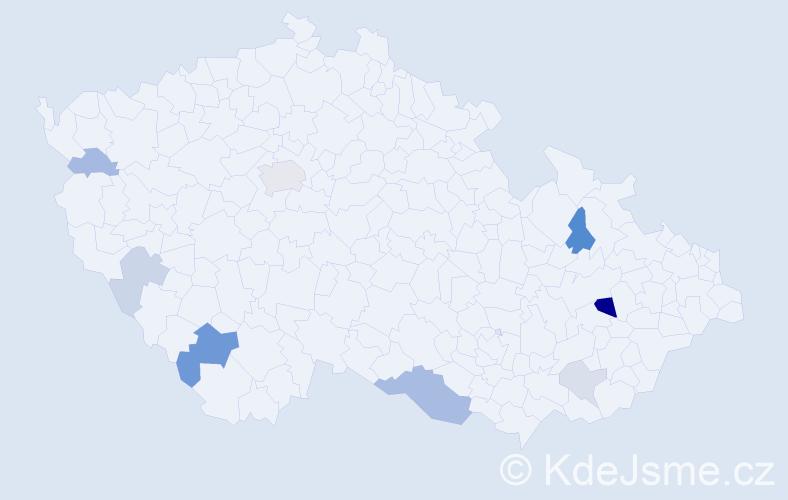 Příjmení: 'Ištók', počet výskytů 19 v celé ČR