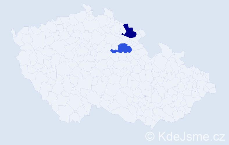 Příjmení: 'Hunana', počet výskytů 4 v celé ČR