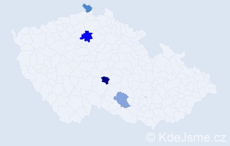 Příjmení: 'Fnouček', počet výskytů 5 v celé ČR