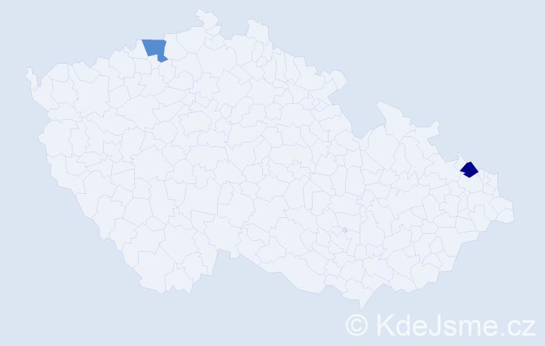 Příjmení: 'Danco', počet výskytů 2 v celé ČR