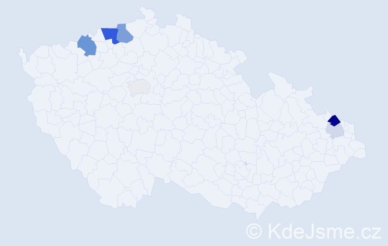 Příjmení: 'Hajšo', počet výskytů 13 v celé ČR
