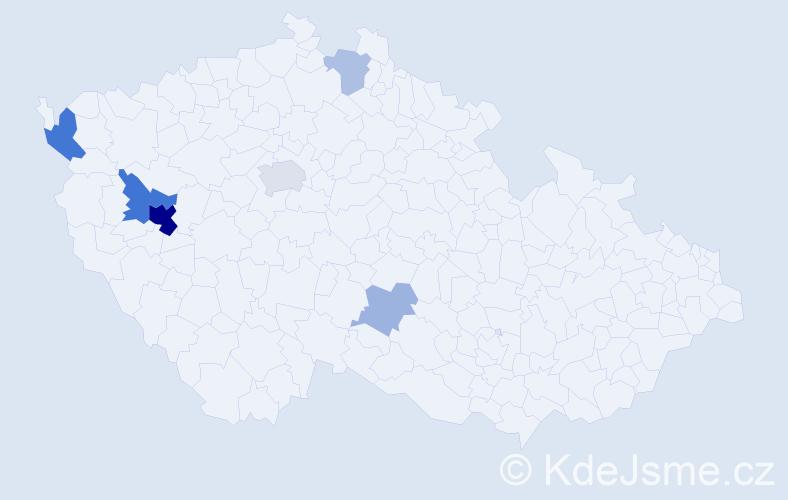 Příjmení: 'Dinnebier', počet výskytů 17 v celé ČR