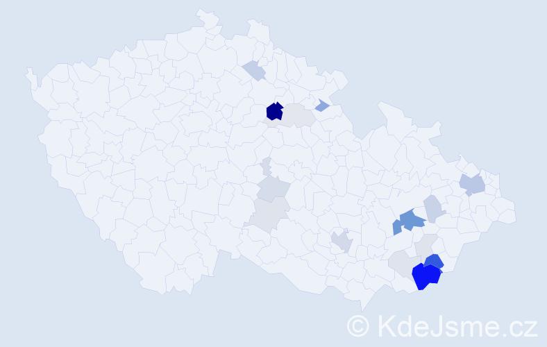 Příjmení: 'Ďurďa', počet výskytů 54 v celé ČR