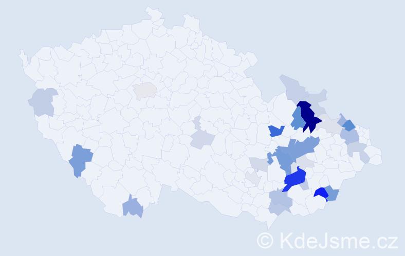 Příjmení: 'Klechová', počet výskytů 88 v celé ČR