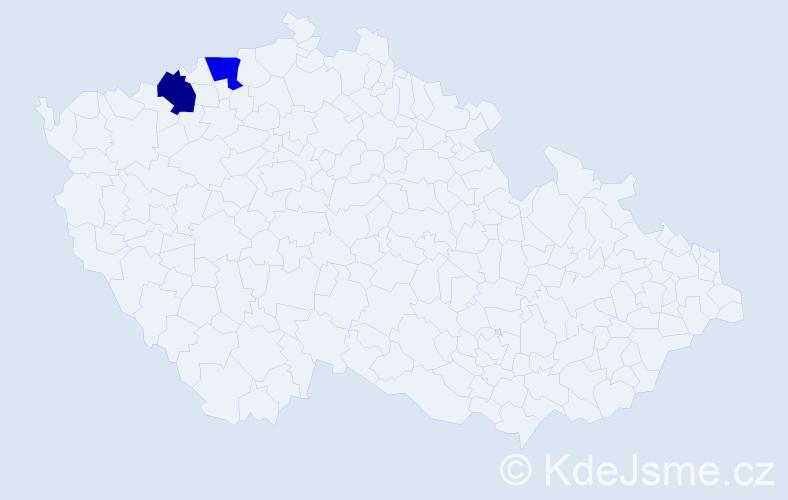Příjmení: 'Červjaťuk', počet výskytů 2 v celé ČR