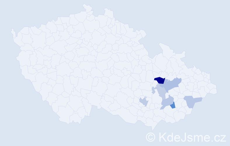 Příjmení: 'Bant', počet výskytů 13 v celé ČR