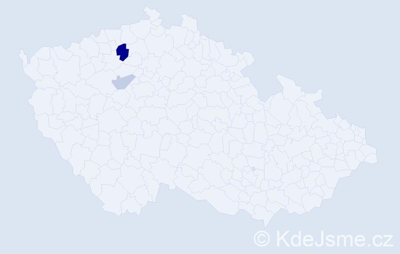 Příjmení: 'Čubrt', počet výskytů 4 v celé ČR