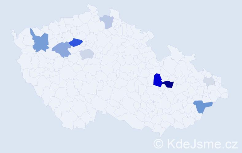 Příjmení: 'Dulaj', počet výskytů 17 v celé ČR