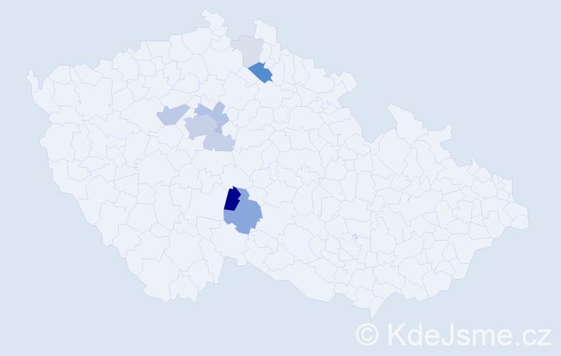 Příjmení: 'Lendrová', počet výskytů 25 v celé ČR