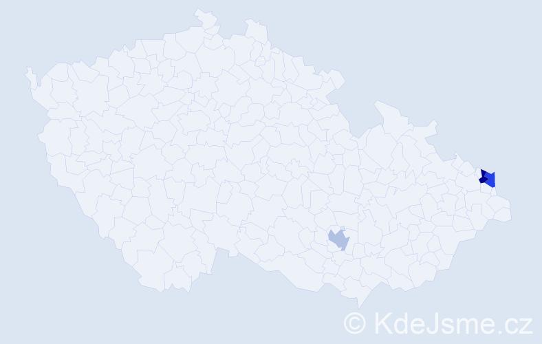 Příjmení: 'Alman', počet výskytů 8 v celé ČR